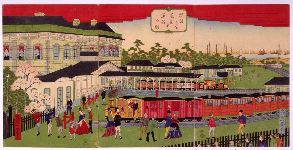 作品画像:汐留より蒸気車通行の図