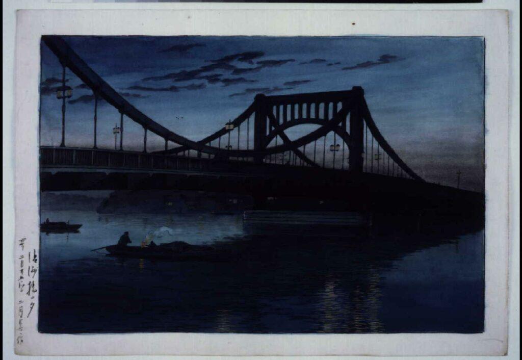 作品画像:清洲橋の夕 原画