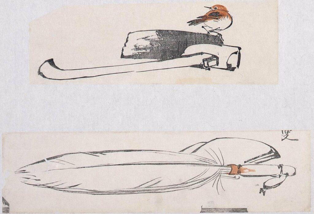作品画像:着色墨版 鍬に小鳥、羽箒