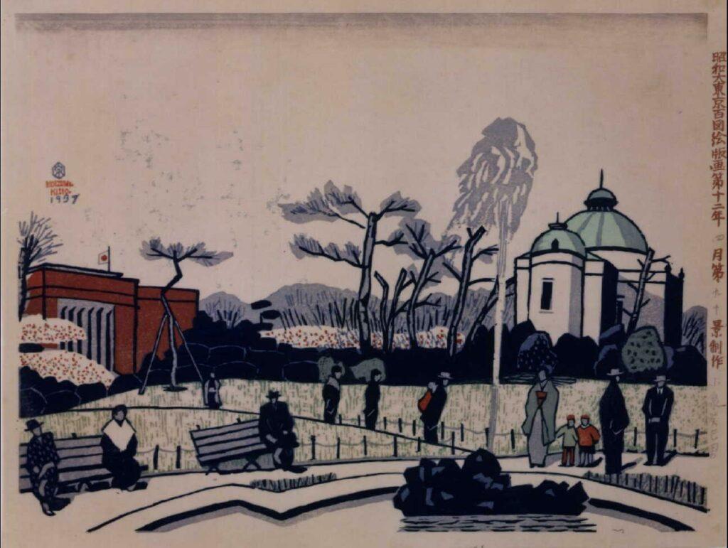作品画像:昭和大東京百図絵版画 第九十景 博物館と美術館春色