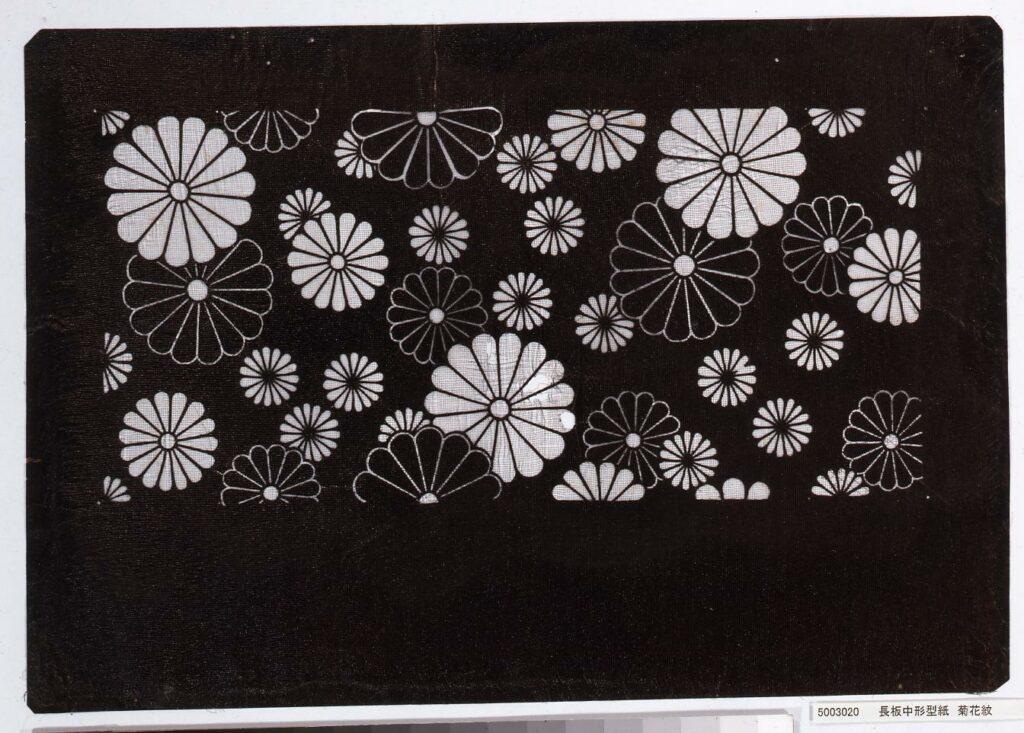作品画像:長板中形型紙 菊花紋